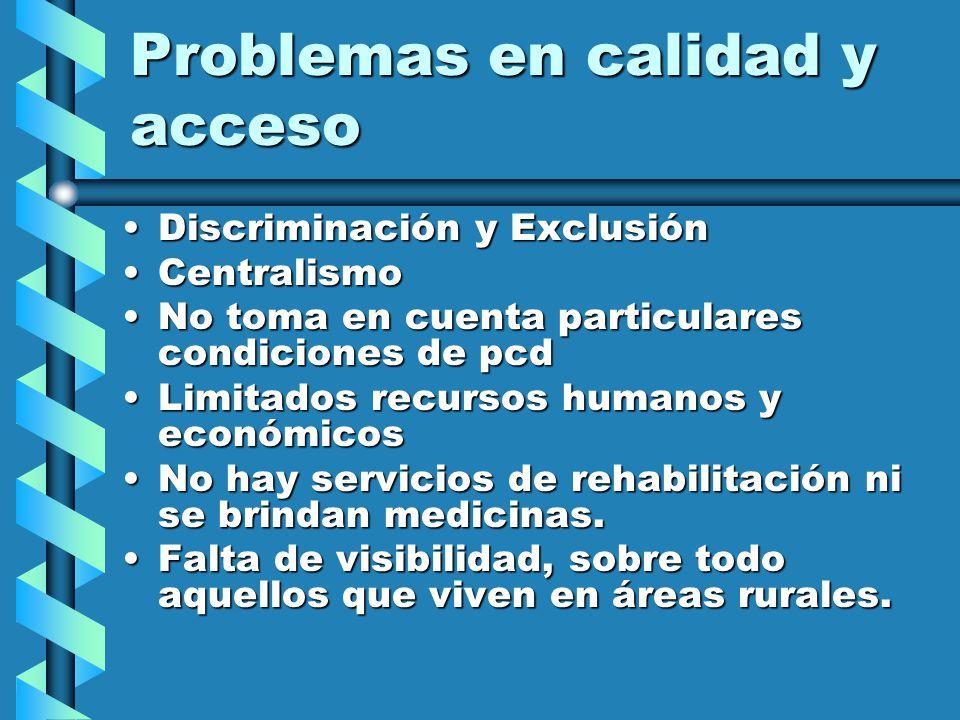 CIFRAS DE LA EXCLUSION SALUD Solo 1,42% de la población con discapacidad accede al beneficio de prestaciones sociales y Seguridad Social (Essalud). Lo
