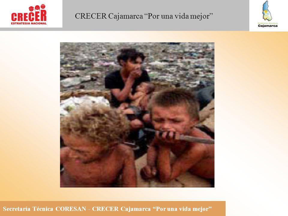 Secretaría Técnica CORESAN - CRECER Cajamarca Por una vida mejor CRECER Cajamarca Por una vida mejor Situación Nutricional Nacional 1 de cada 4 niños menores de 2 años presenta desnutrición crónica 7 de cada 10 niños menores de 2 años sufren de anemia nutricional 4 de cada 10 mujeres gestantes tienen anemia nutricional 1 de cada 10 niños sufre de deficiencia subclínica de vitamina A 5 de cada 10 niños menores de 2 años en riesgo latente de desórdenes por deficiencia de yodo (DDI) Ministerio de Salud / DGSP-DAIS