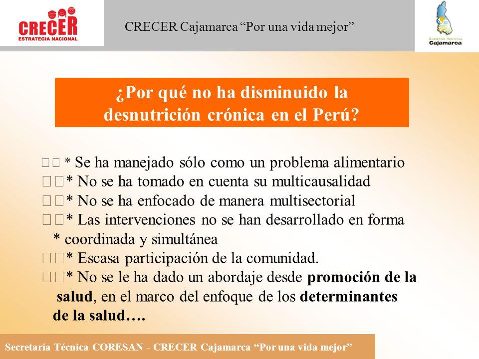 Secretaría Técnica CORESAN - CRECER Cajamarca Por una vida mejor CRECER Cajamarca Por una vida mejor * Se ha manejado sólo como un problema alimentario * No se ha tomado en cuenta su multicausalidad * No se ha enfocado de manera multisectorial * Las intervenciones no se han desarrollado en forma * coordinada y simultánea * Escasa participación de la comunidad.