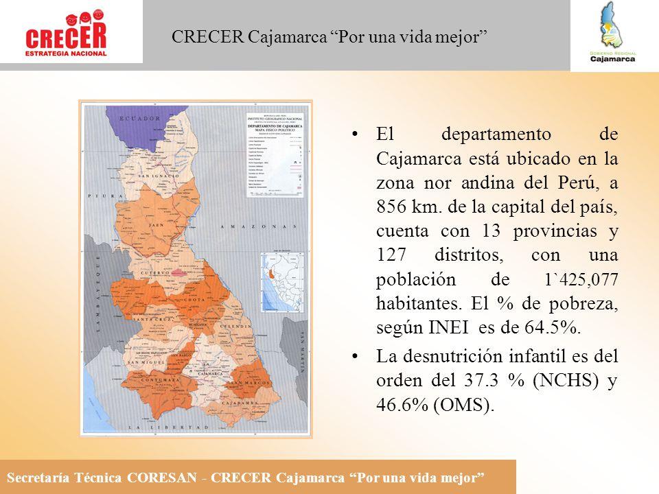 Secretaría Técnica CORESAN - CRECER Cajamarca Por una vida mejor CRECER Cajamarca Por una vida mejor El departamento de Cajamarca está ubicado en la zona nor andina del Perú, a 856 km.