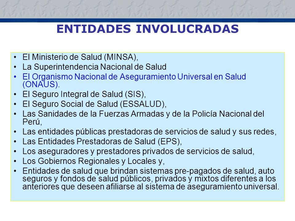 ENTIDADES INVOLUCRADAS El Ministerio de Salud (MINSA), La Superintendencia Nacional de Salud El Organismo Nacional de Aseguramiento Universal en Salud (ONAUS).