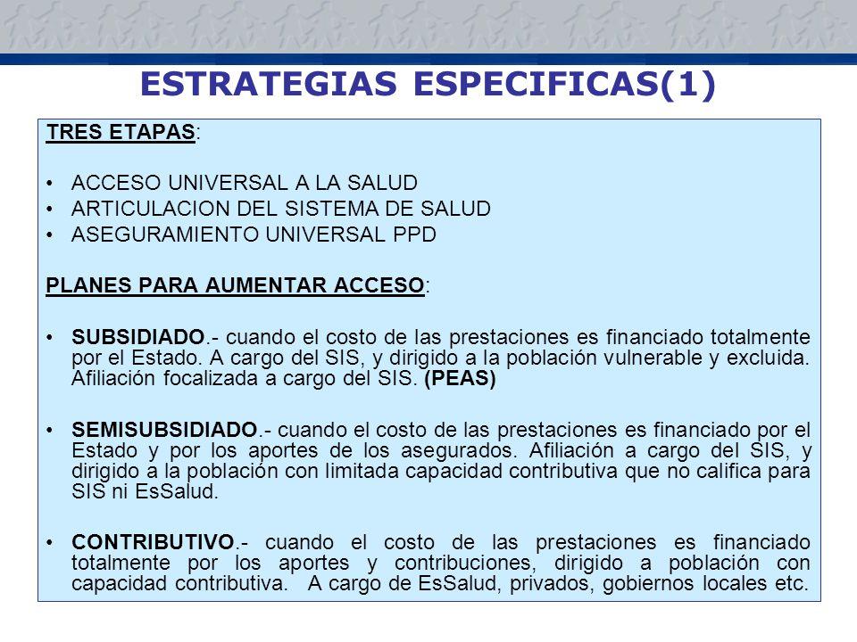 ESTRATEGIAS ESPECIFICAS(1) TRES ETAPAS: ACCESO UNIVERSAL A LA SALUD ARTICULACION DEL SISTEMA DE SALUD ASEGURAMIENTO UNIVERSAL PPD PLANES PARA AUMENTAR ACCESO: SUBSIDIADO.- cuando el costo de las prestaciones es financiado totalmente por el Estado.