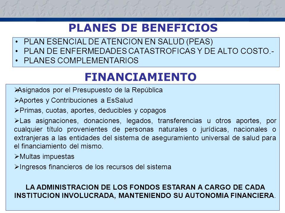 PLANES DE BENEFICIOS PLAN ESENCIAL DE ATENCION EN SALUD (PEAS) PLAN DE ENFERMEDADES CATASTROFICAS Y DE ALTO COSTO.- PLANES COMPLEMENTARIOS FINANCIAMIENTO Asignados por el Presupuesto de la República Aportes y Contribuciones a EsSalud Primas, cuotas, aportes, deducibles y copagos Las asignaciones, donaciones, legados, transferencias u otros aportes, por cualquier título provenientes de personas naturales o jurídicas, nacionales o extranjeras a las entidades del sistema de aseguramiento universal de salud para el financiamiento del mismo.