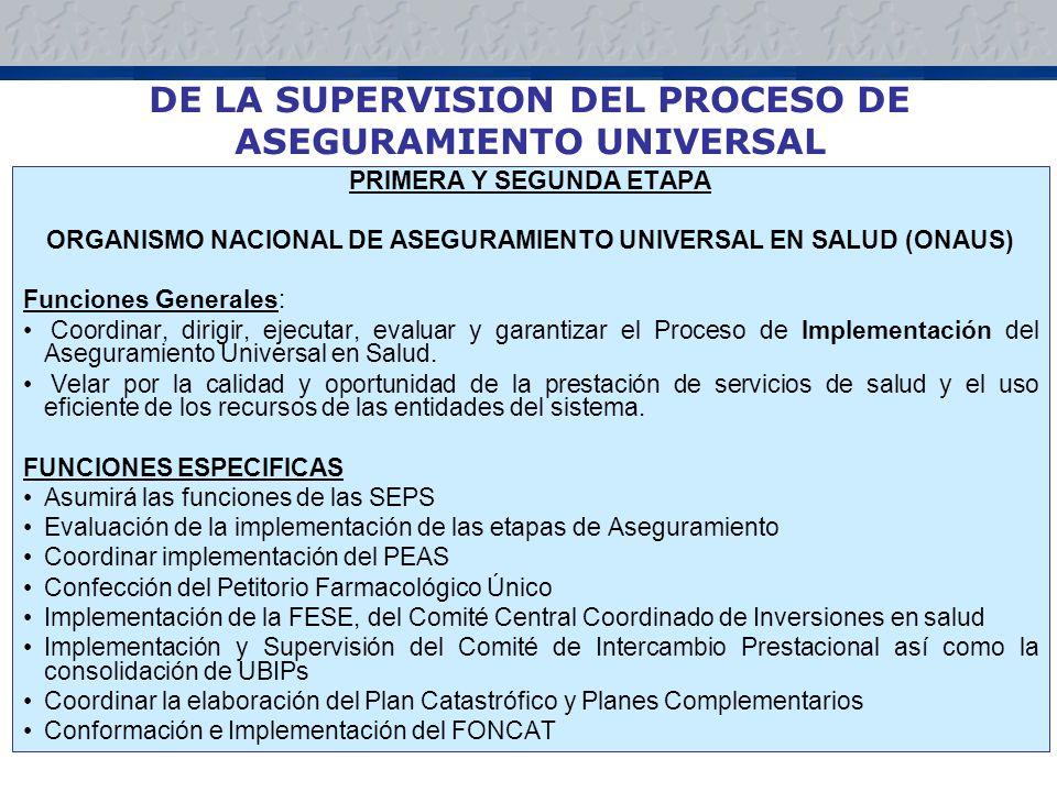 DE LA SUPERVISION DEL PROCESO DE ASEGURAMIENTO UNIVERSAL PRIMERA Y SEGUNDA ETAPA ORGANISMO NACIONAL DE ASEGURAMIENTO UNIVERSAL EN SALUD (ONAUS) Funciones Generales: Coordinar, dirigir, ejecutar, evaluar y garantizar el Proceso de Implementación del Aseguramiento Universal en Salud.
