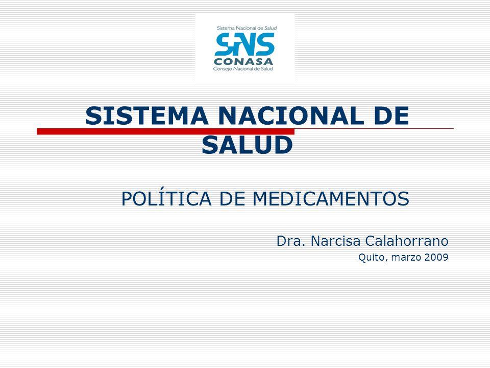 SISTEMA NACIONAL DE SALUD POLÍTICA DE MEDICAMENTOS Dra. Narcisa Calahorrano Quito, marzo 2009