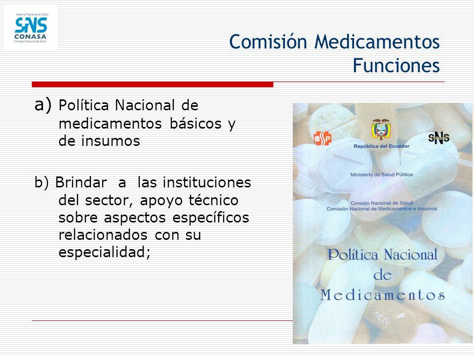 Comisión Medicamentos Funciones a) Política Nacional de medicamentos básicos y de insumos b) Brindar a las instituciones del sector, apoyo técnico sob