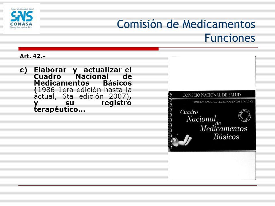 Comisión de Medicamentos Funciones Art. 42.- c) Elaborar y actualizar el Cuadro Nacional de Medicamentos Básicos (1986 1era edición hasta la actual, 6