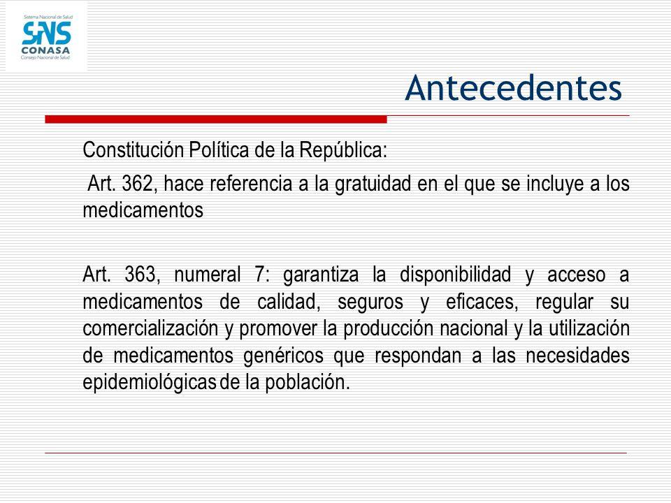 Antecedentes Constitución Política de la República: Art. 362, hace referencia a la gratuidad en el que se incluye a los medicamentos Art. 363, numeral