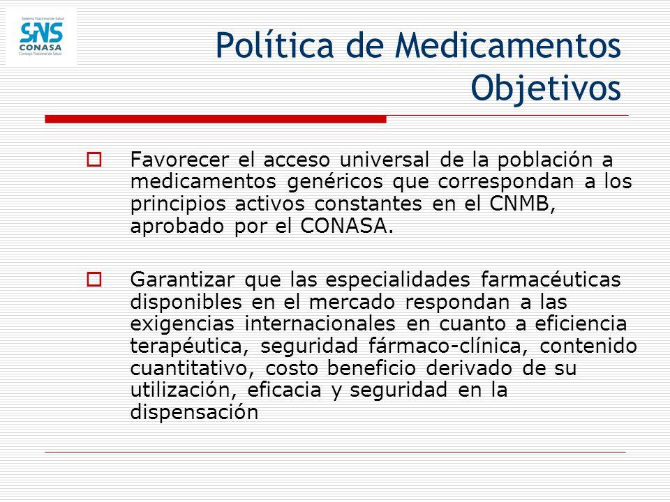 Política de Medicamentos Objetivos Favorecer el acceso universal de la población a medicamentos genéricos que correspondan a los principios activos co