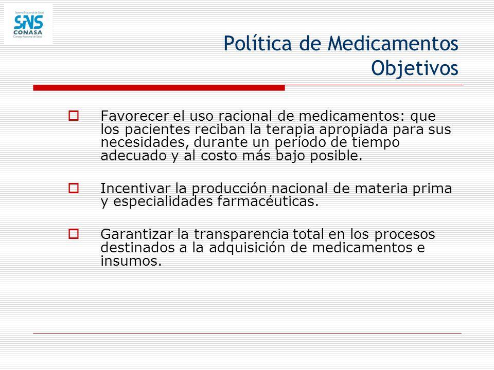 Política de Medicamentos Objetivos Favorecer el uso racional de medicamentos: que los pacientes reciban la terapia apropiada para sus necesidades, dur