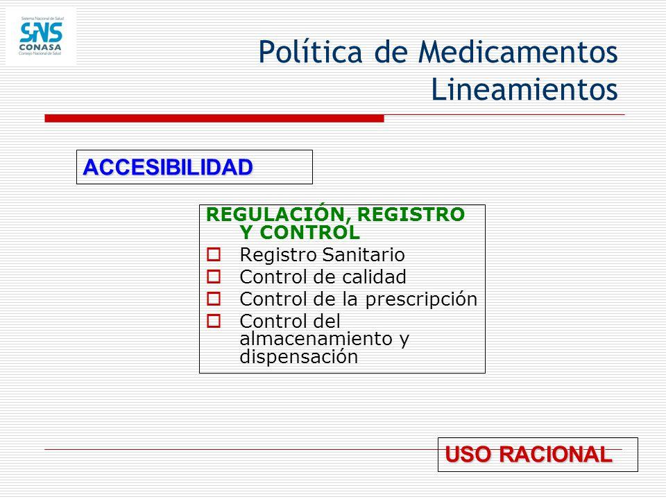 Política de Medicamentos Lineamientos REGULACIÓN, REGISTRO Y CONTROL Registro Sanitario Control de calidad Control de la prescripción Control del alma