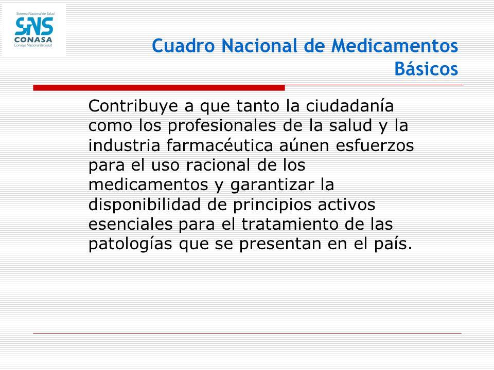 Cuadro Nacional de Medicamentos Básicos Contribuye a que tanto la ciudadanía como los profesionales de la salud y la industria farmacéutica aúnen esfu