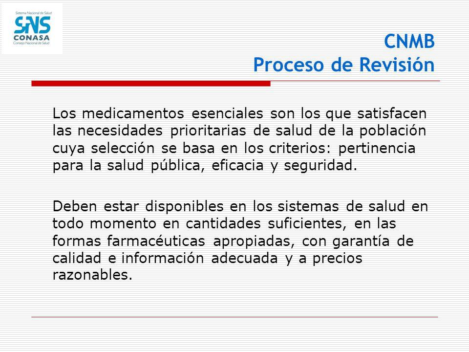 CNMB Proceso de Revisión Los medicamentos esenciales son los que satisfacen las necesidades prioritarias de salud de la población cuya selección se ba