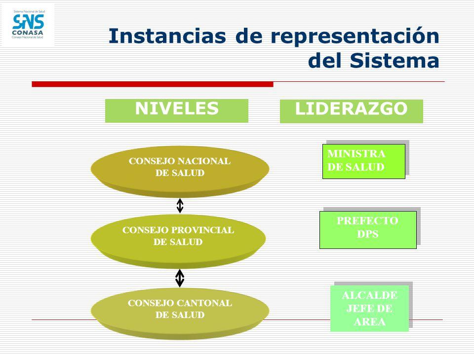 Instancias de representación del Sistema LIDERAZGO ALCALDE JEFE DE AREA ALCALDE JEFE DE AREA PREFECTO DPS PREFECTO DPS MINISTRA DE SALUD CONSEJO CANTO