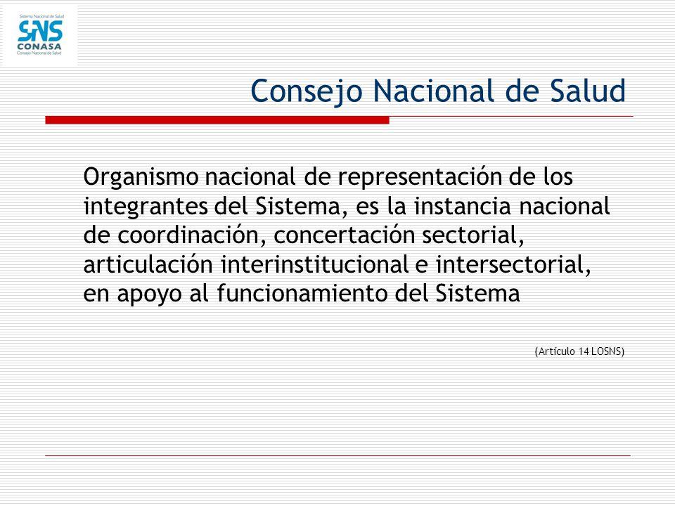 Consejo Nacional de Salud Organismo nacional de representación de los integrantes del Sistema, es la instancia nacional de coordinación, concertación
