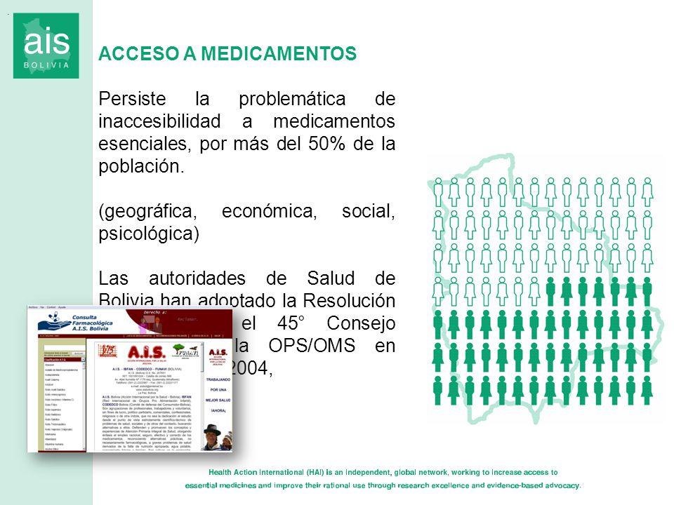 ACCESO A MEDICAMENTOS Persiste la problemática de inaccesibilidad a medicamentos esenciales, por más del 50% de la población. (geográfica, económica,