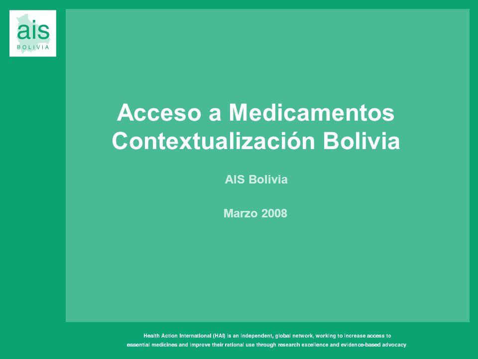 Acceso a Medicamentos Contextualización Bolivia AIS Bolivia Marzo 2008