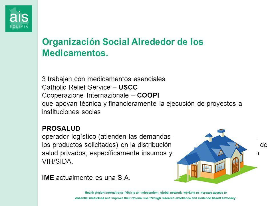 Organización Social Alrededor de los Medicamentos. 3 trabajan con medicamentos esenciales Catholic Relief Service – USCC Cooperazione Internazionale –