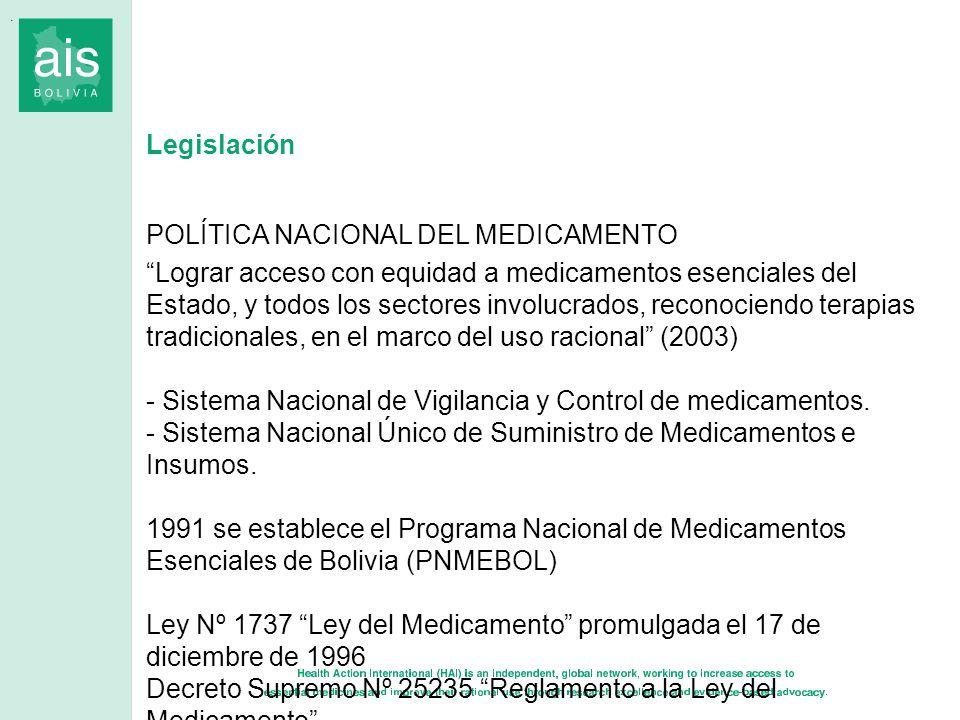 Legislación POLÍTICA NACIONAL DEL MEDICAMENTO Lograr acceso con equidad a medicamentos esenciales del Estado, y todos los sectores involucrados, recon