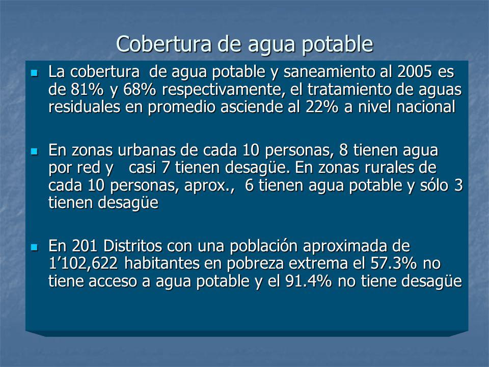 Cobertura de agua potable La cobertura de agua potable y saneamiento al 2005 es de 81% y 68% respectivamente, el tratamiento de aguas residuales en pr
