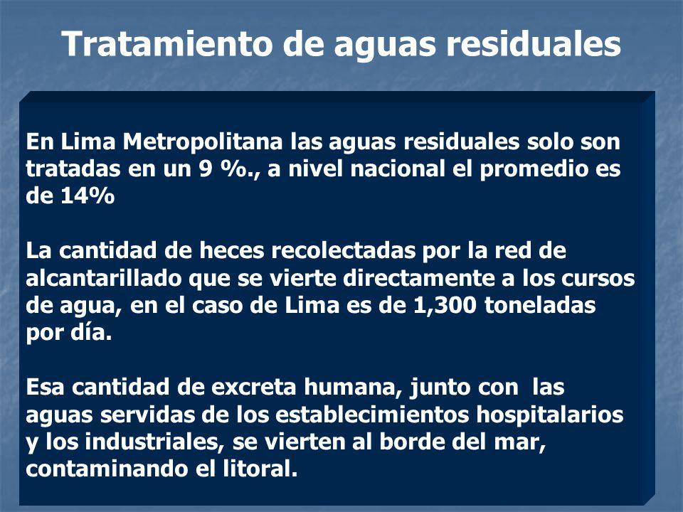 Tratamiento de aguas residuales En Lima Metropolitana las aguas residuales solo son tratadas en un 9 %., a nivel nacional el promedio es de 14% La cantidad de heces recolectadas por la red de alcantarillado que se vierte directamente a los cursos de agua, en el caso de Lima es de 1,300 toneladas por día.
