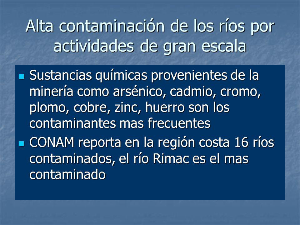 Alta contaminación de los ríos por actividades de gran escala Sustancias químicas provenientes de la minería como arsénico, cadmio, cromo, plomo, cobre, zinc, huerro son los contaminantes mas frecuentes Sustancias químicas provenientes de la minería como arsénico, cadmio, cromo, plomo, cobre, zinc, huerro son los contaminantes mas frecuentes CONAM reporta en la región costa 16 ríos contaminados, el río Rimac es el mas contaminado CONAM reporta en la región costa 16 ríos contaminados, el río Rimac es el mas contaminado