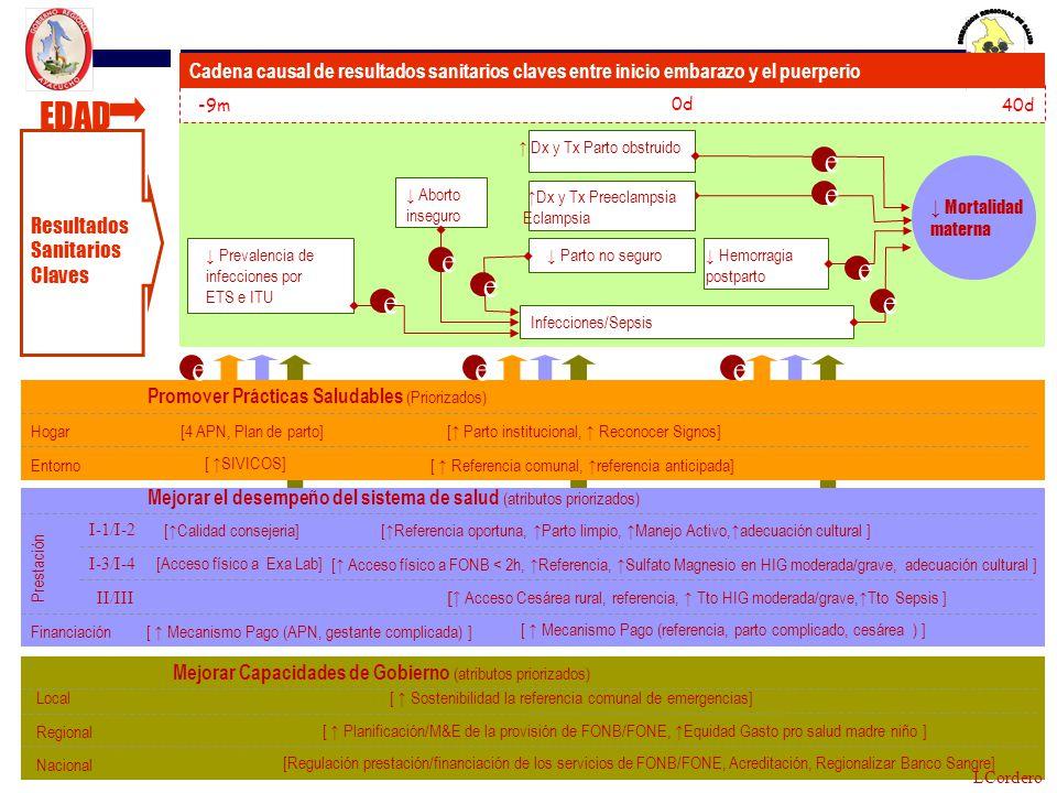 Dx y Tx Parto obstruido Infecciones/Sepsis Hemorragia postparto Prevalencia de infecciones por ETS e ITU -9m 0d 40d Promover Prácticas Saludables (Pri