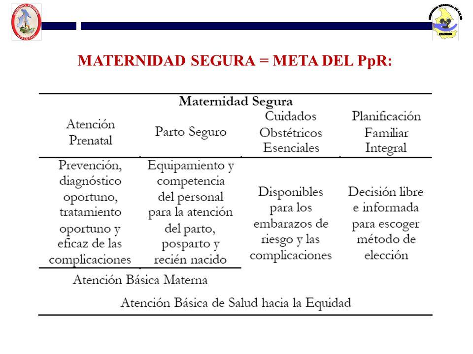 MATERNIDAD SEGURA = META DEL PpR: