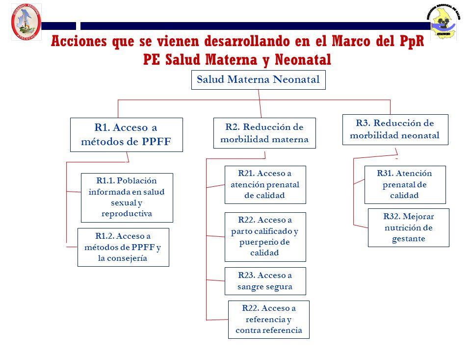 Acciones que se vienen desarrollando en el Marco del PpR PE Salud Materna y Neonatal Salud Materna Neonatal R1. Acceso a métodos de PPFF R2. Reducción