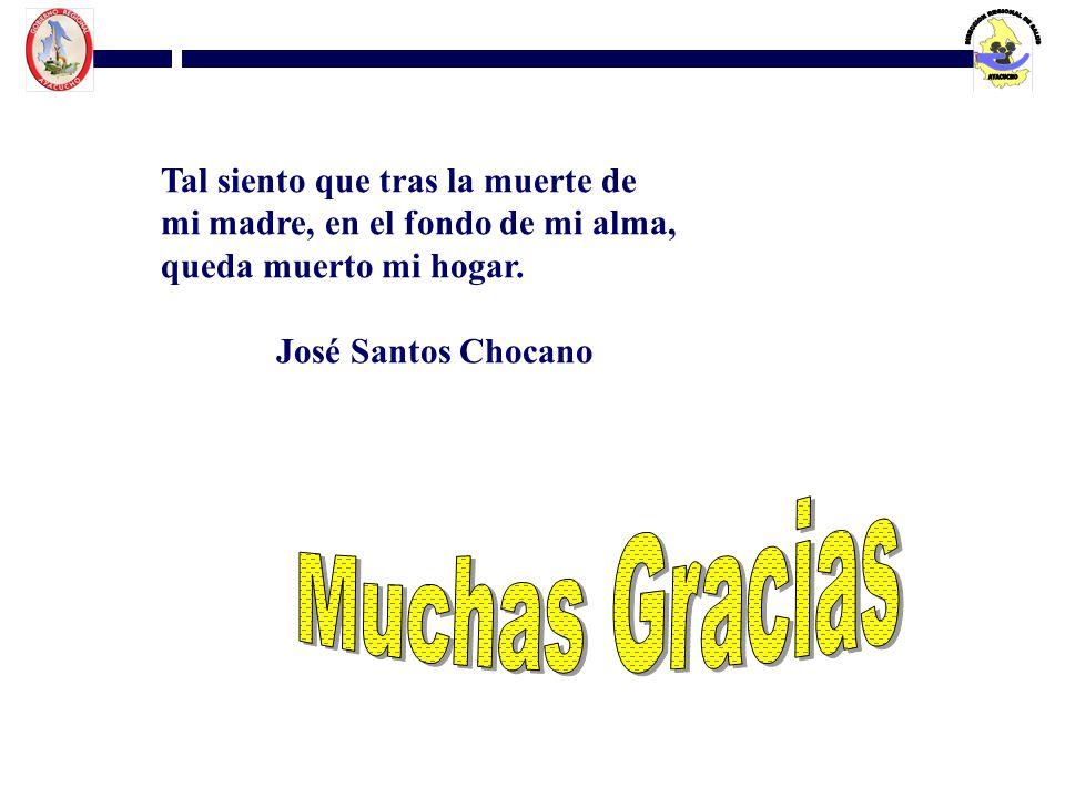 Tal siento que tras la muerte de mi madre, en el fondo de mi alma, queda muerto mi hogar. José Santos Chocano