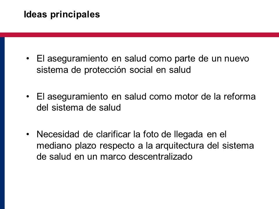 Ideas principales El aseguramiento en salud como parte de un nuevo sistema de protección social en salud El aseguramiento en salud como motor de la re