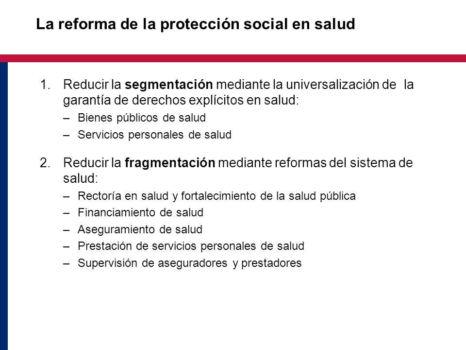 La reforma de la protección social en salud 1.Reducir la segmentación mediante la universalización de la garantía de derechos explícitos en salud: –Bi