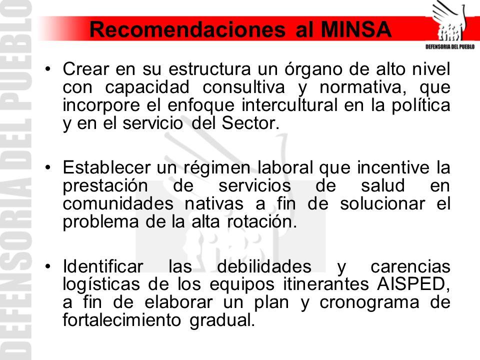 Recomendaciones al MINSA Crear en su estructura un órgano de alto nivel con capacidad consultiva y normativa, que incorpore el enfoque intercultural en la política y en el servicio del Sector.