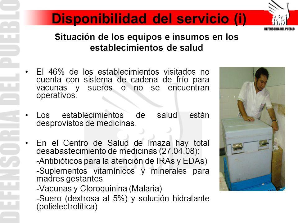 Disponibilidad del servicio (i) El 46% de los establecimientos visitados no cuenta con sistema de cadena de frío para vacunas y sueros o no se encuentran operativos.