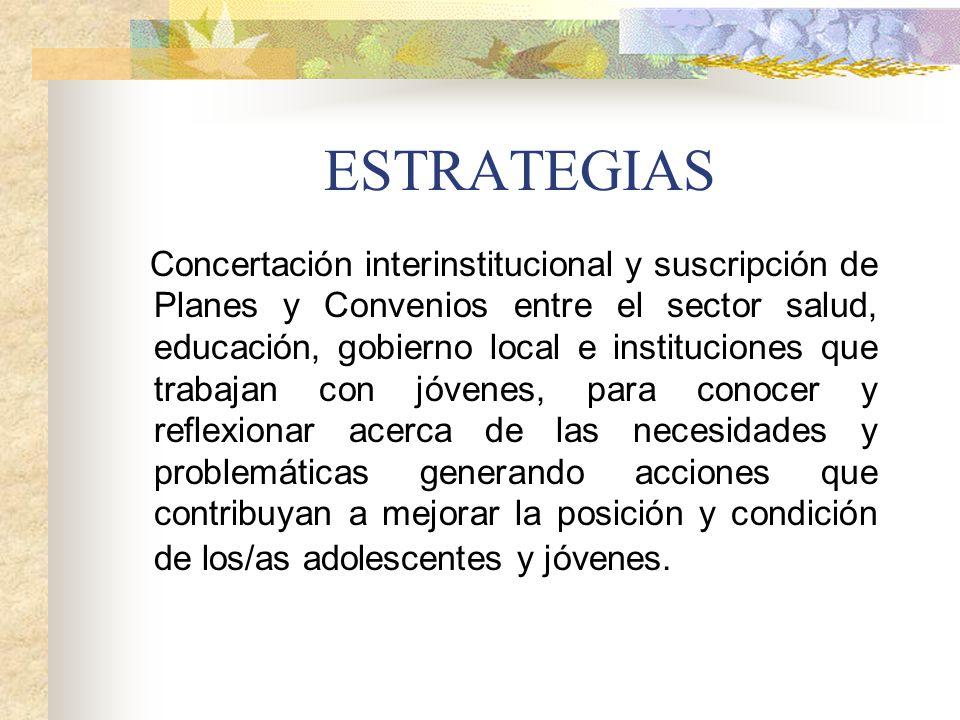 ESTRATEGIAS Concertación interinstitucional y suscripción de Planes y Convenios entre el sector salud, educación, gobierno local e instituciones que t