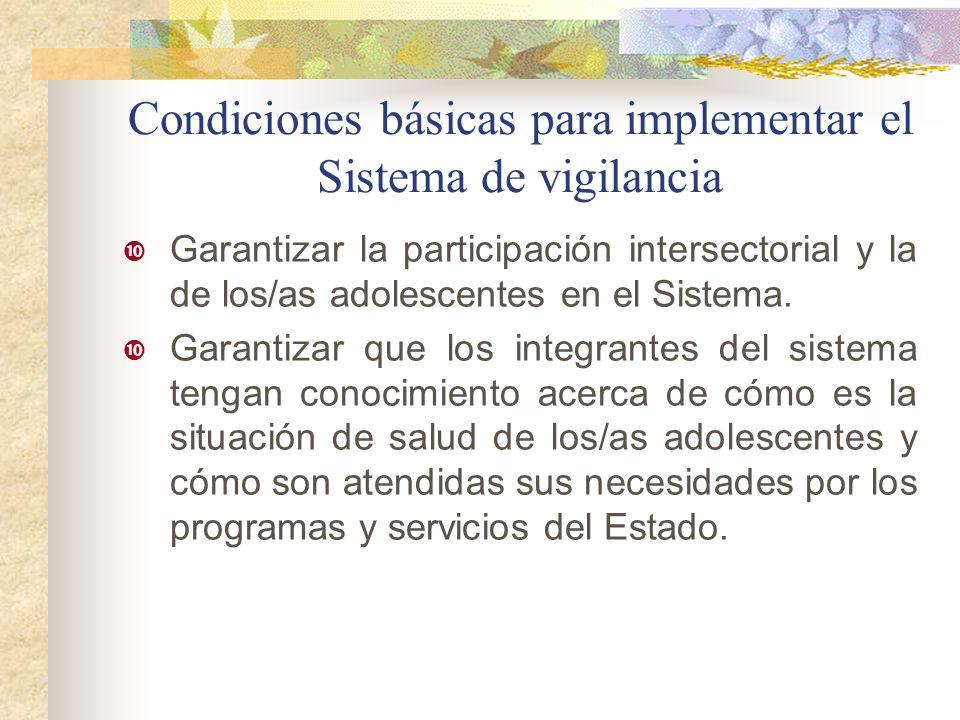 Condiciones básicas para implementar el Sistema de vigilancia Garantizar la participación intersectorial y la de los/as adolescentes en el Sistema. Ga