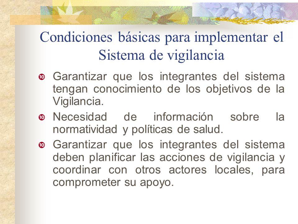 Condiciones básicas para implementar el Sistema de vigilancia Garantizar que los integrantes del sistema tengan conocimiento de los objetivos de la Vi