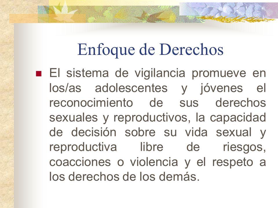 Enfoque de Derechos El sistema de vigilancia promueve en los/as adolescentes y jóvenes el reconocimiento de sus derechos sexuales y reproductivos, la