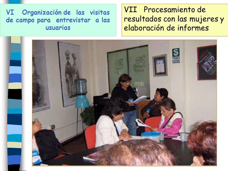 VI Organización de las visitas de campo para entrevistar a las usuarias VII Procesamiento de resultados con las mujeres y elaboración de informes