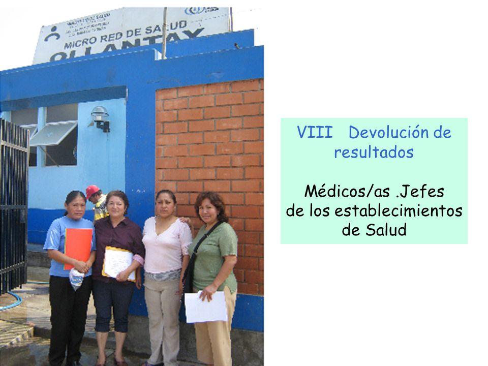 VIII Devolución de resultados Médicos/as.Jefes de los establecimientos de Salud