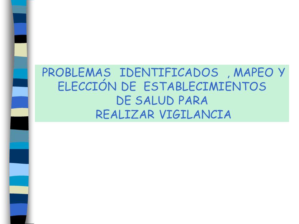 PROBLEMAS IDENTIFICADOS, MAPEO Y ELECCIÓN DE ESTABLECIMIENTOS DE SALUD PARA REALIZAR VIGILANCIA