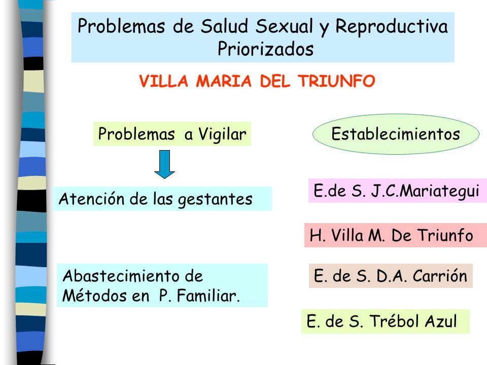 Problemas de Salud Sexual y Reproductiva Priorizados VILLA MARIA DEL TRIUNFO Atención de las gestantes Abastecimiento de Métodos en P. Familiar. Probl