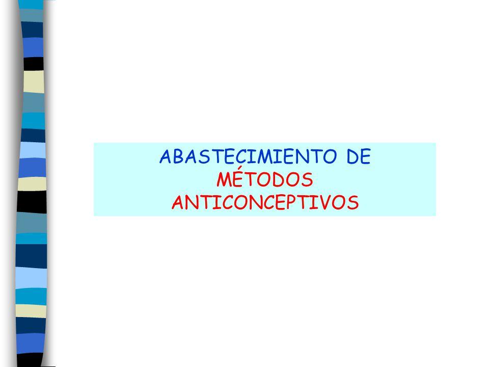 ABASTECIMIENTO DE MÉTODOS ANTICONCEPTIVOS