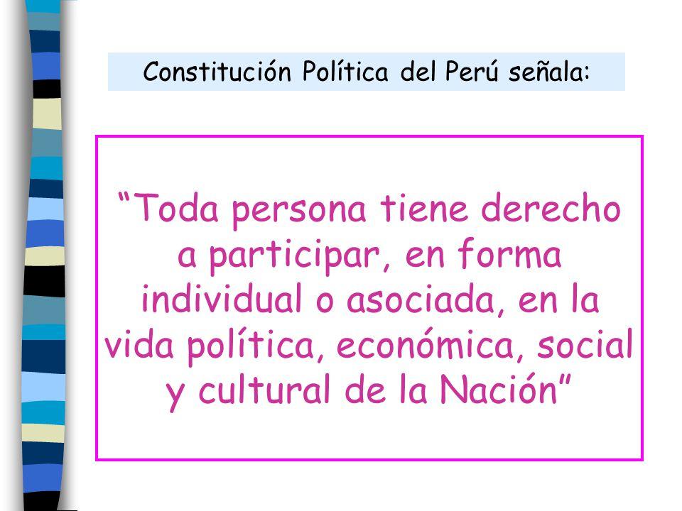 Toda persona tiene derecho a participar, en forma individual o asociada, en la vida política, económica, social y cultural de la Nación Constitución P