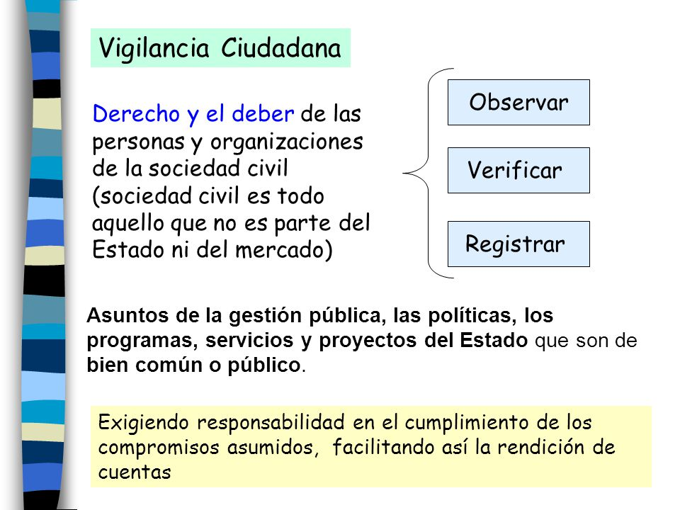 Asuntos de la gestión pública, las políticas, los programas, servicios y proyectos del Estado que son de bien común o público. Vigilancia Ciudadana De