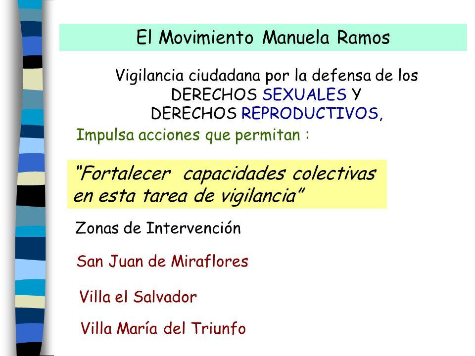 El Movimiento Manuela Ramos Vigilancia ciudadana por la defensa de los DERECHOS SEXUALES Y DERECHOS REPRODUCTIVOS, Impulsa acciones que permitan : San