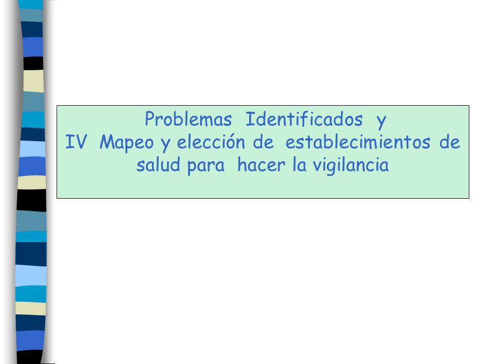 Problemas Identificados y IV Mapeo y elección de establecimientos de salud para hacer la vigilancia