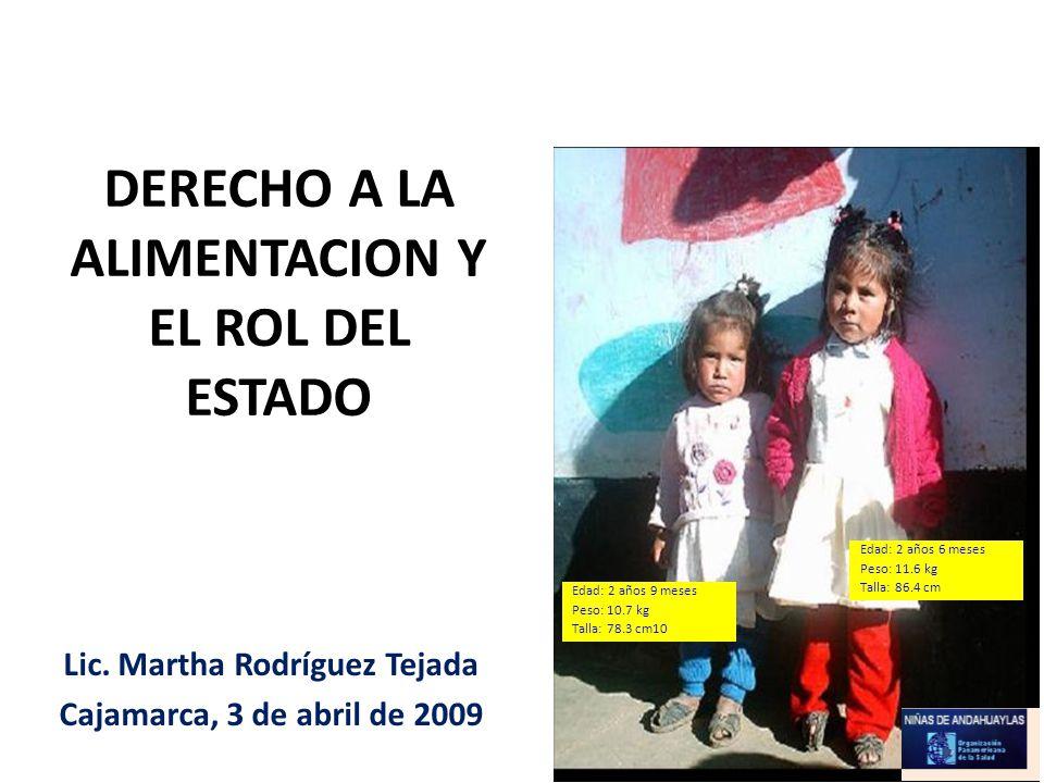 DERECHO A LA ALIMENTACION Y EL ROL DEL ESTADO Lic. Martha Rodríguez Tejada Cajamarca, 3 de abril de 2009 Edad: 2 años 9 meses Peso: 10.7 kg Talla: 78.
