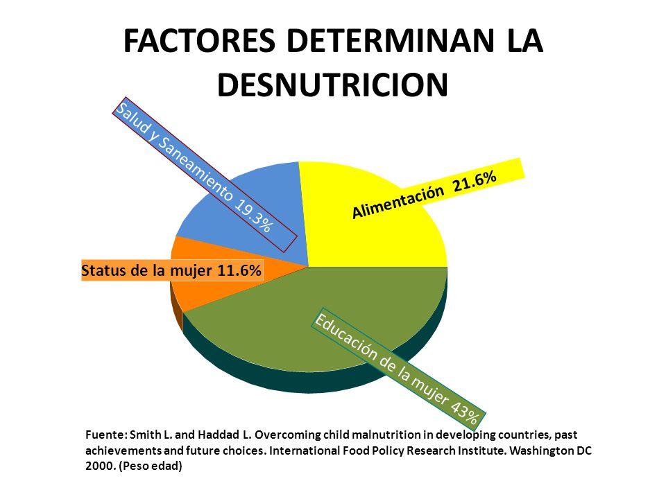 FACTORES DETERMINAN LA DESNUTRICION Alimentación 21.6% Educación de la mujer 43% Status de la mujer 11.6% Salud y Saneamiento 19.3% Fuente: Smith L. a