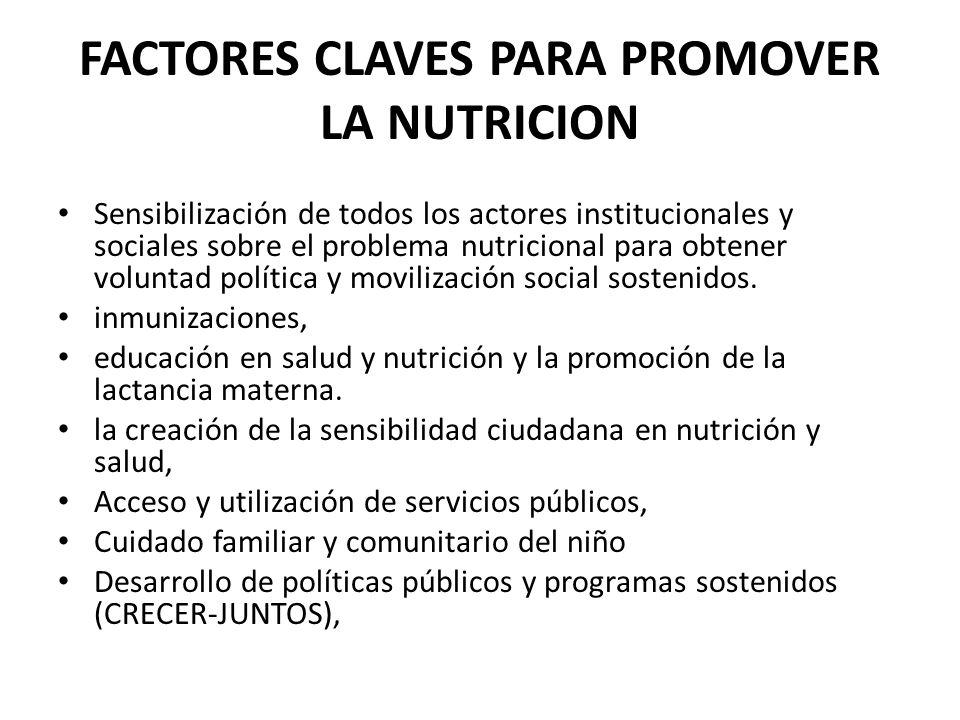 FACTORES CLAVES PARA PROMOVER LA NUTRICION Sensibilización de todos los actores institucionales y sociales sobre el problema nutricional para obtener